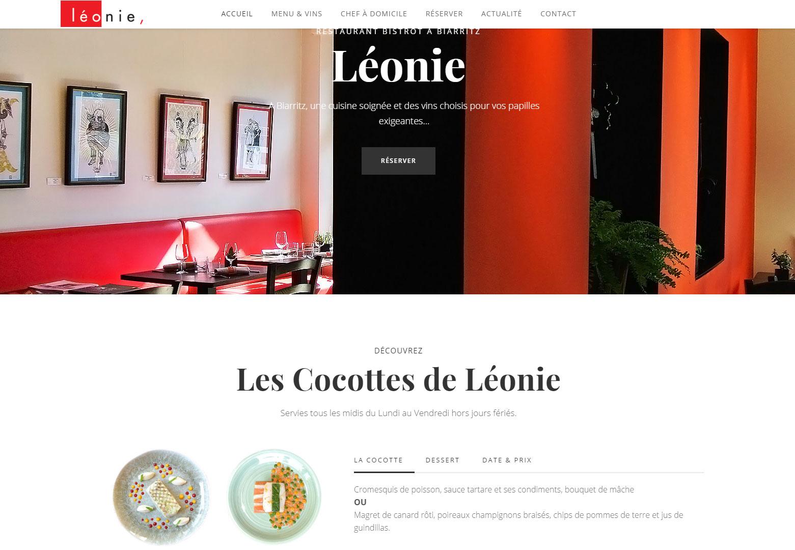 Ouverture du nouveau site internet du Restaurant Léonie à Biarritz